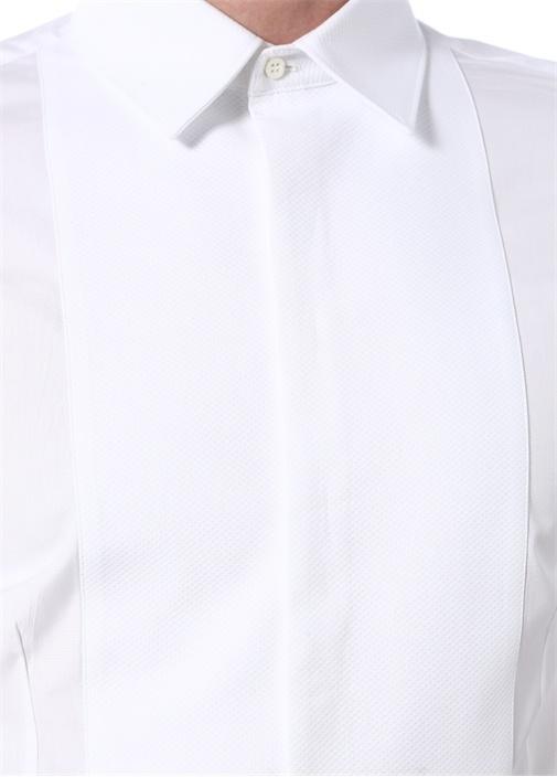 Slim Fit Beyaz Dokulu Garni Detaylı Smokin Gömleği