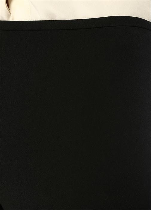 Siyah Normal Bel Bol Paça Krep Pantolon