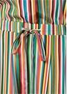Renkli Çizgili Beli Büzgülü Kısa Kol İpek Tulum