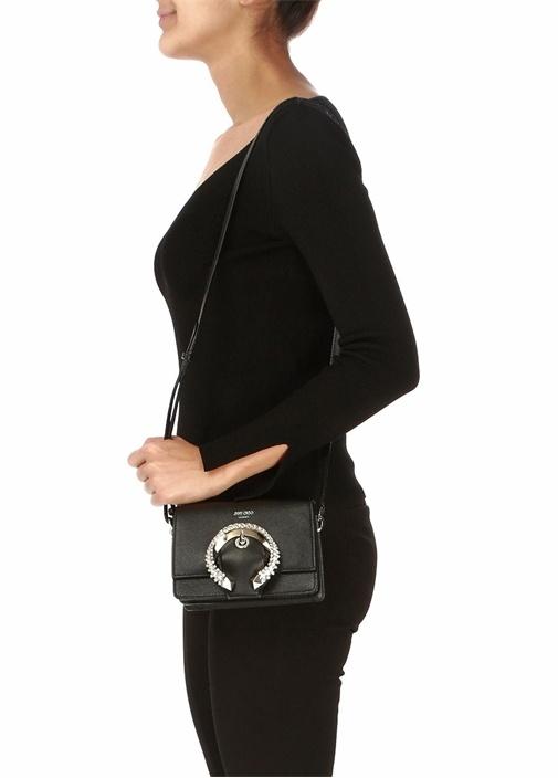 Madeline Siyah Taş Tokalı Kadın Deri Omuz Çantası