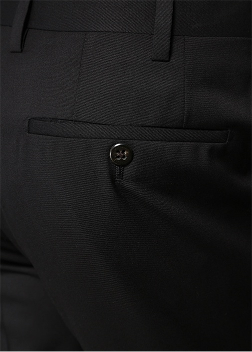 Drop 7 Siyah Normal Bel Boru Paça Yün Pantolon