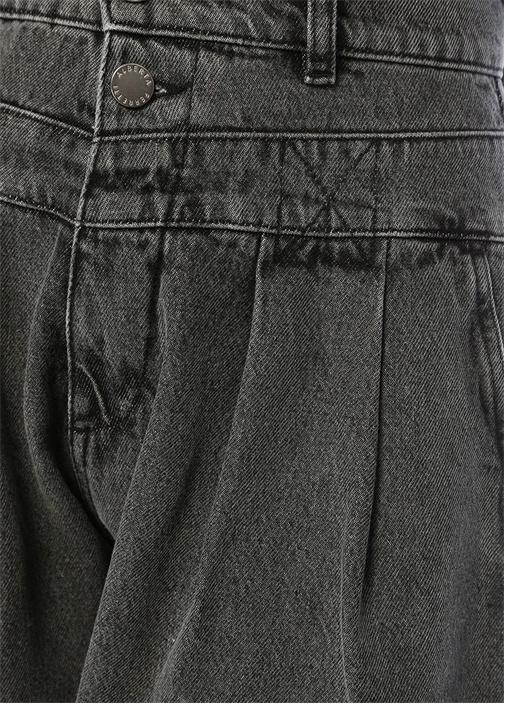 Gri Yüksek Bel Pile Detaylı Jean Pantolon