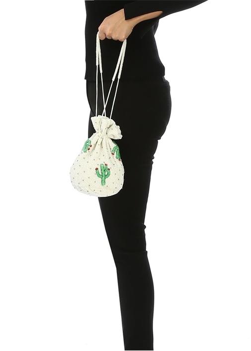 Beyaz Boncuk İşlemeli Kadın El Çantası