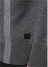 Gri Dik Yaka Çizgi Detaylı Sweatshirt