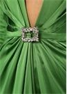 Moss Yeşil V Yaka Taşlı Mini İpek Kokteyl Elbise