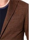 Kahverengi Kelebek Yaka Dokulu Yün Jersey Ceket