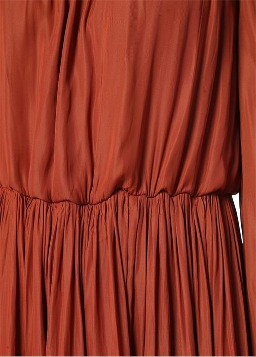 Kiremit Kare Yaka Büzgülü Yırtmaçlı Midi Elbise