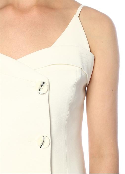 Ekru Kalp Yaka Askılı Düğmeli Kruvaze Bluz