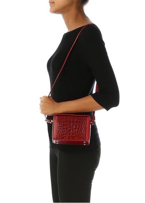 Cerea Mini Kırmızı Dokulu Kadın Deri Omuz Çantası