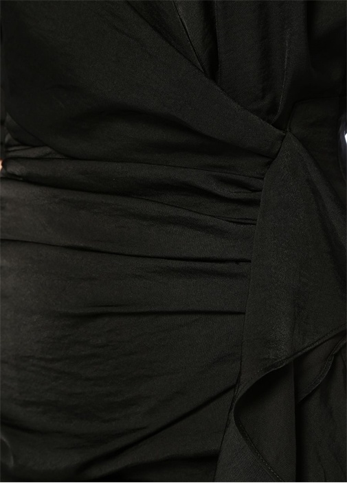 Issey Siyah V Yaka Drapeli Mini AnvelopElbise