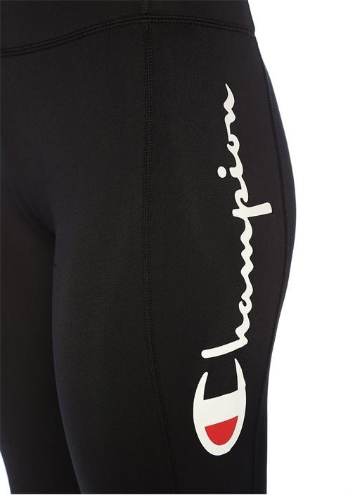 Siyah Logo Baskılı Transparan Detaylı Spor Tayt