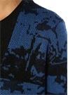 Mavi Siyah Jakarlı Uzun Bol Hırka