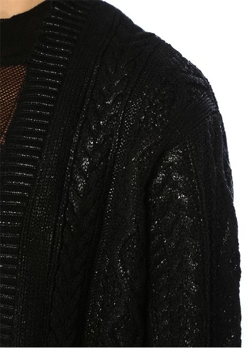 Siyah Varak Baskılı Uzun Örgü Hırka
