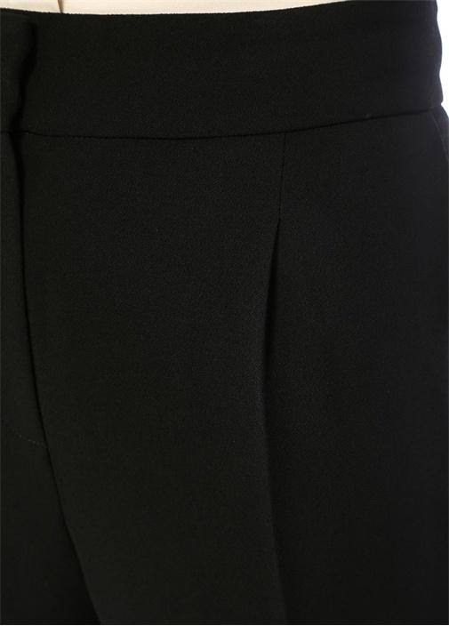 Siyah Normal Bel Pileli Dar Paça Pantolon