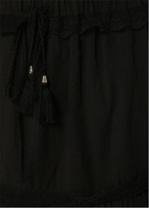 Siyah Dantel Şeritli Asimetrik Kesim Mini Etek