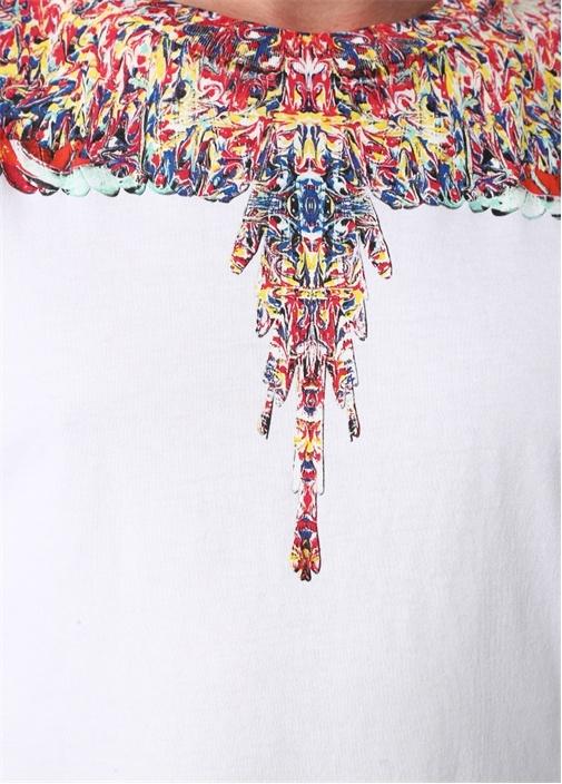 Wings Beyaz Yakası Renkli Baskılı BasicT-shirt