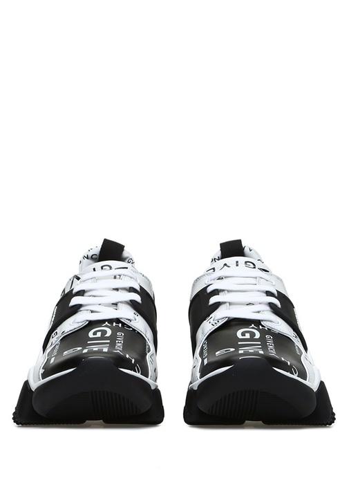 Basse Siyah Beyaz Logo Baskılı Erkek Deri Sneaker