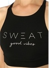 Sweat Good Vibes Siyah Baskılı Spor Sütyeni