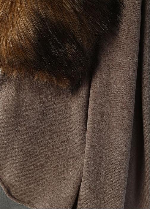 Vizon Kahverengi Peluş Detaylı Kadın Şal