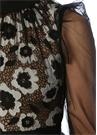 Siyah Çiçek Nakışlı Pileli Maksi Tül Elbise