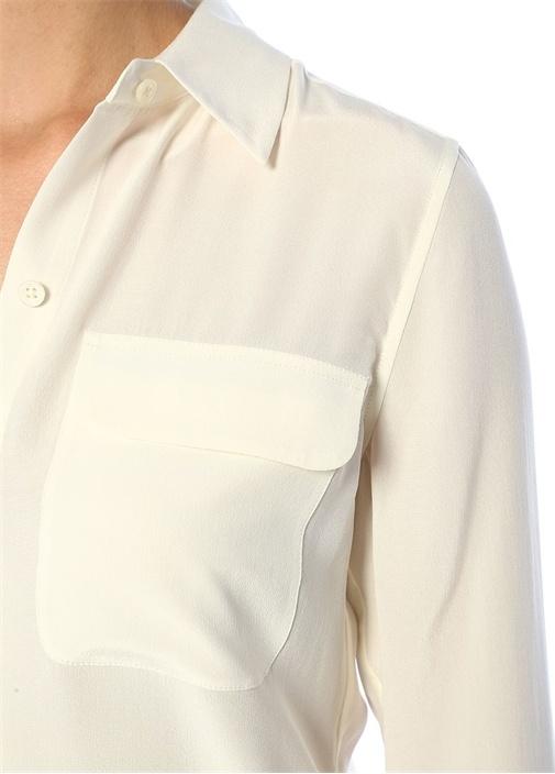 Slim Signature Beyaz İpek Gömlek