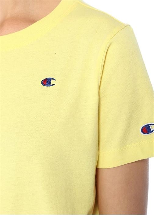 Sarı Logo Nakışlı Basic T-shirt