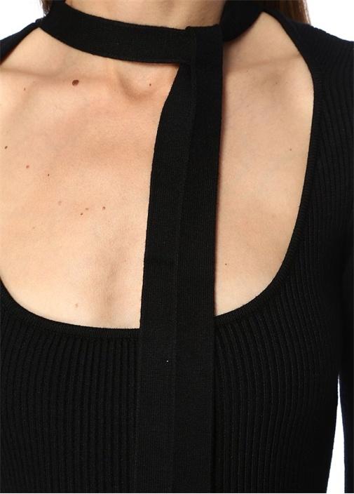 Pomelo Siyah Yakası Bağcıklı Mini TrikoElbise