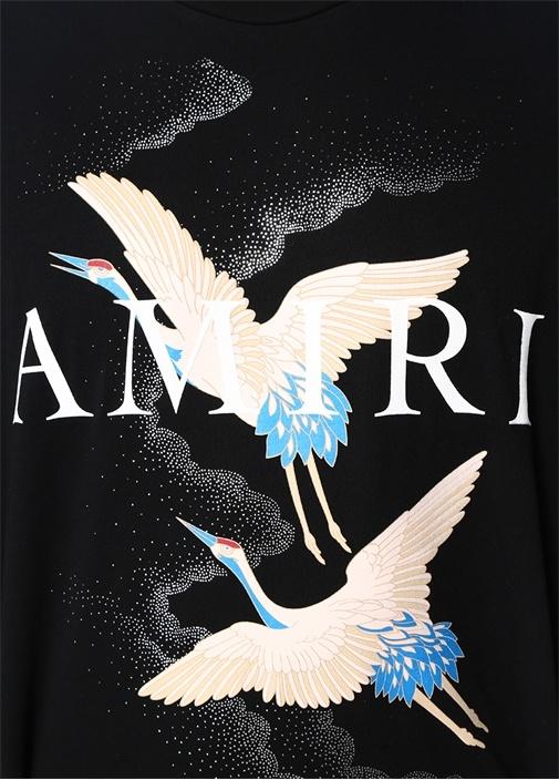 Crane Siyah Bisiklet Yaka Perili LogoluT-shirt
