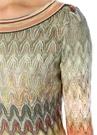 Kayık Yaka Zikzak Desenli Uzun Kol Mini Elbise