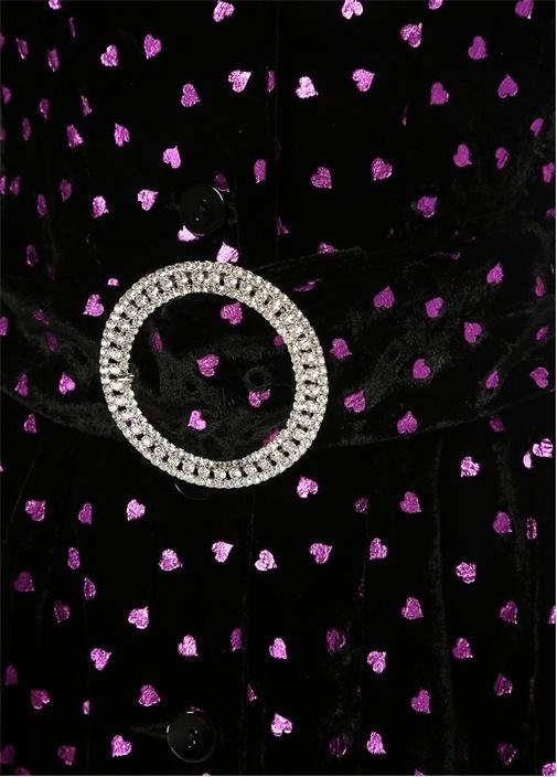 Siyah Kalp Desenli Kemerli Mini Kadife Elbise