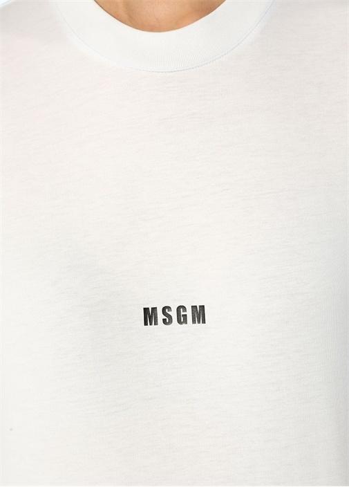 Beyaz Logo Baskılı T-shirt