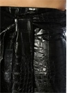 Siyah Piton Dokulu Bağcıklı Midi Suni Deri Etek