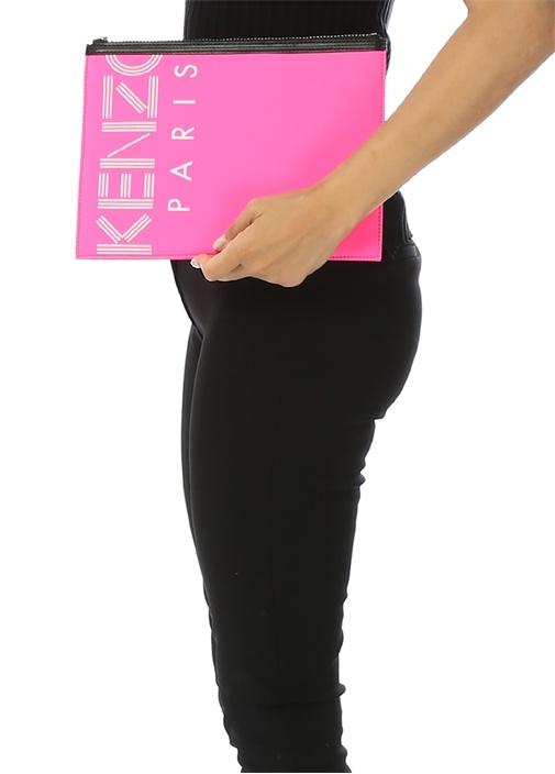 Neon Pembe Large Logo Nakışlı Kadın El Portföyü