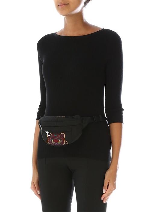 Mini Siyah Kaplan Nakışlı Kadın Bel Çantası