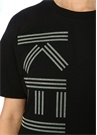 Siyah Simli Logolu Kısa Kol Mini T-shirt Elbise