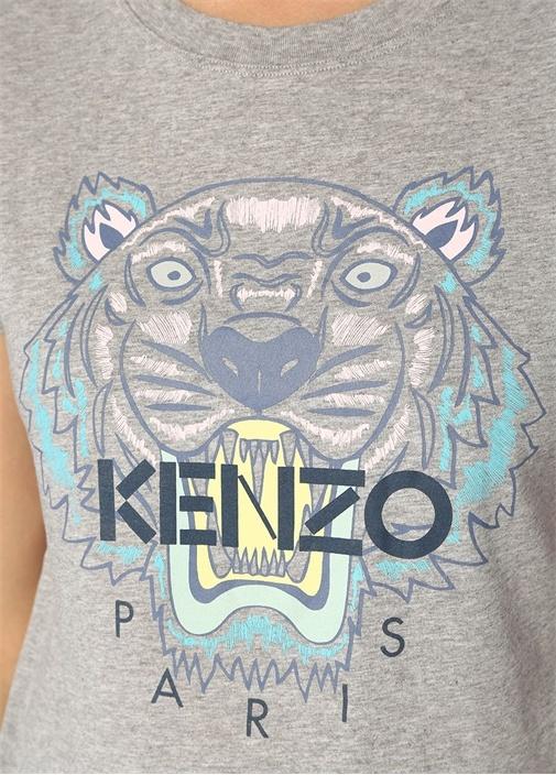 Gri Melanj Kaplan Baskılı Logolu Basic T-shirt