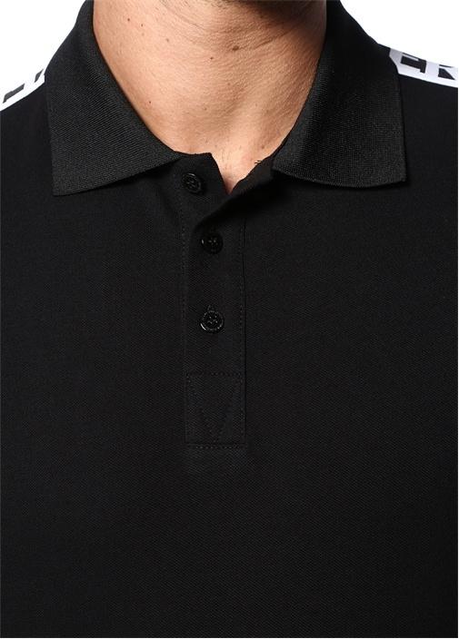 Siyah Polo Yaka Kontrast Logo Şeritli T-shirt