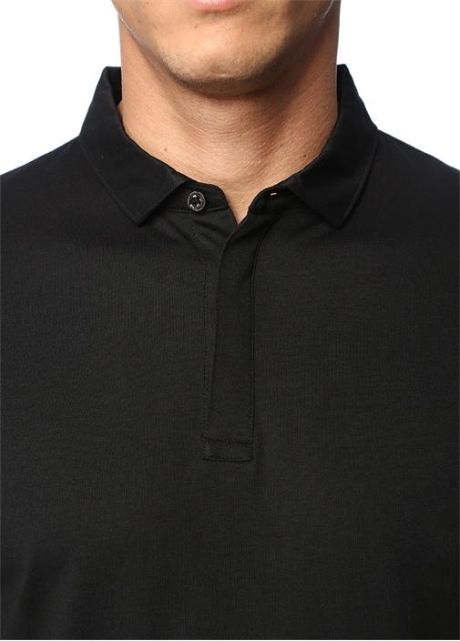 Siyah Polo Yaka Sweatshirt