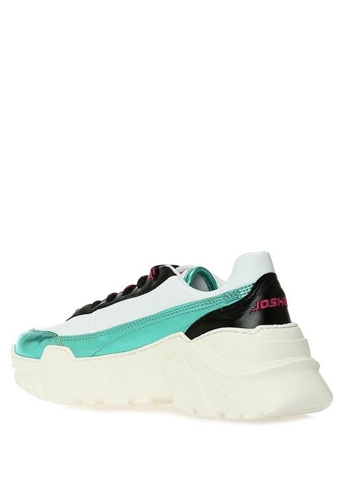 Irene Beyaz Yeşil Kadın Deri Sneaker