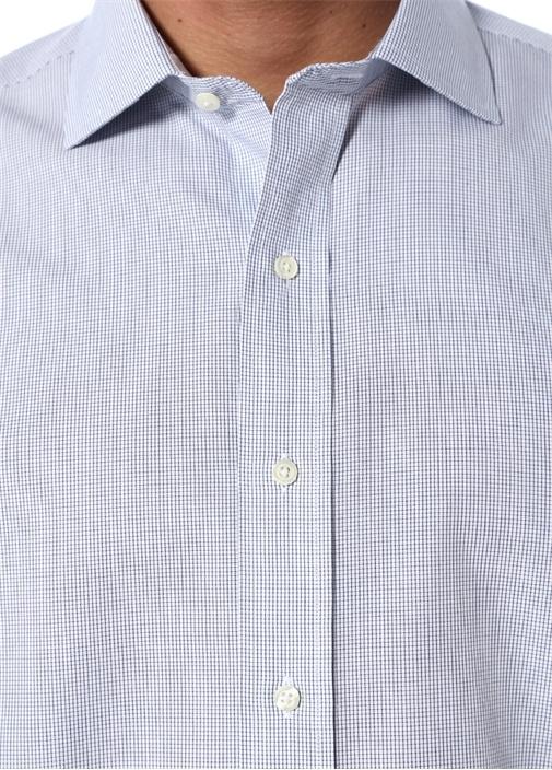 Non Iron Beyaz Mavi Pötikareli Düğmeli Yaka Gömlek