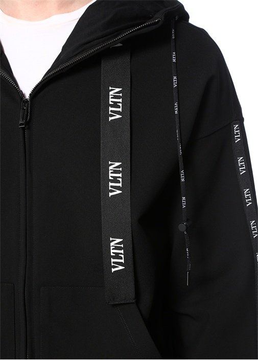 VLTN Siyah Kapüşonlu Logo Şeritli Sweatshirt
