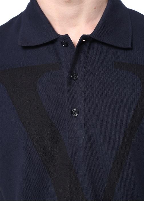 Lacivert Polo Yaka Dokulu Logolu T-shirt