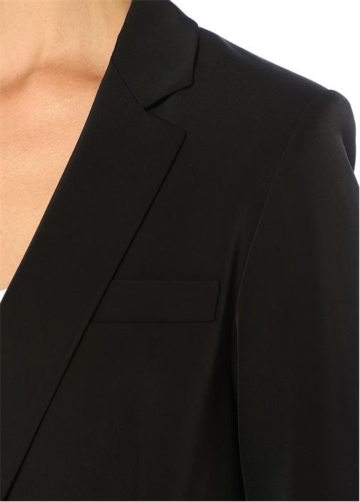Siyah Kelebek Yaka Tek Düğmeli Ceket