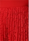 Kırmızı Pilili Midi Dantel Etek