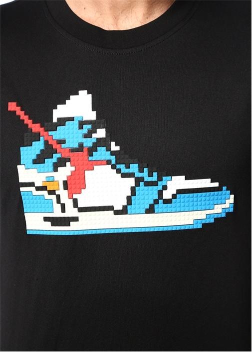 True Siyah Karikatür Lego Kabartmalı T-shirt