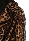 Leopar Desenli Beli Kuşaklı Shearling Palto