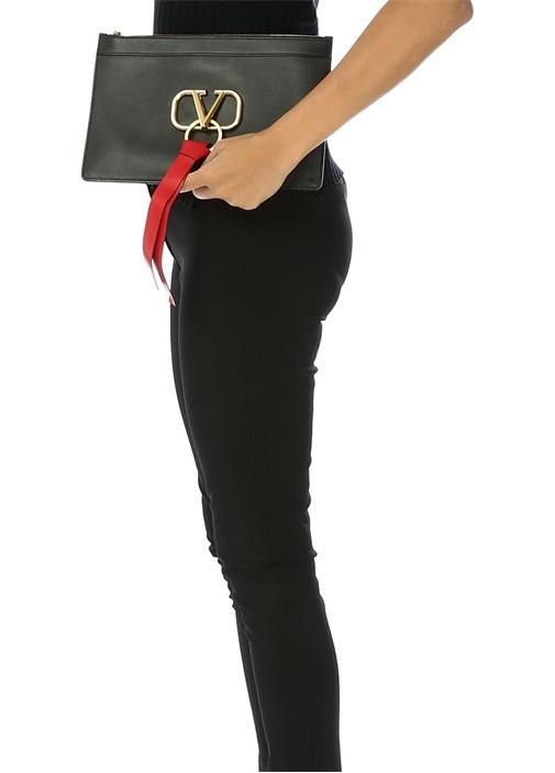 Vring Siyah Logolu Kadın Deri El Portföyü