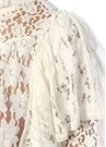 Vetea Beyaz Volanlı Transparan Dantel Bluz