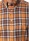 Kahverengi Taba Ekose Desenli Düğmeli Yaka Gömlek