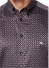 Kahverengi Mikro Geometrik Desenli Gömlek
